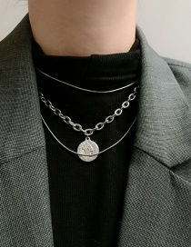 Fashion Silver Gold Coin Pendant Round Multilayer Titanium Steel Necklace
