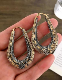 Fashion Golden Carved U-shaped Diamond Geometric Alloy Earrings