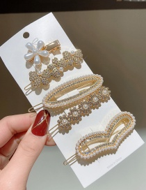 Fashion Golden Diamond And Pearl Geometric Alloy Hairpin Set