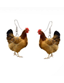 Fashion Chicken Acrylic Hen Printed Earrings