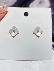 Fashion Real Gold Plated Micro-inlaid Zircon Natural Shell Flower Earrings