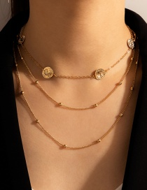 Fashion Golden Round Bead Chain Disc Alloy Multilayer Necklace