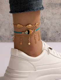 Fashion Color Mixing 3-piece Shell Fish Five-pointed Star Tassel Anklet
