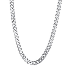 Fashion Steel Color 5mm40cm Stainless Steel Milled Six-sided Cuban Chain Thick Chain Necklace