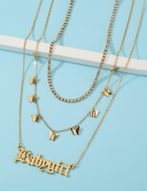 Fashion Gold Color Claw Chain Butterfly Tassel Letter Multilayer Necklace