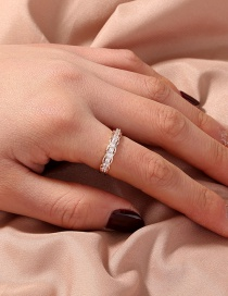 Fashion Rose Gold Micro-set Zircon And Gold-plated Copper Geometric Open Ring