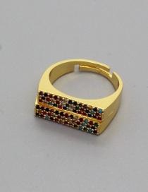 Fashion Fancy Diamond Ring Double Row Micro-inlaid Zircon Rectangular Ring