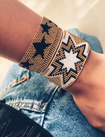 Fashion Set Price Champagne Rice Beads Hand-woven Five-pointed Star Beaded Bracelet