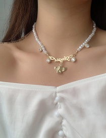 Fashion White Letter Angel Pendant Pearl Necklace