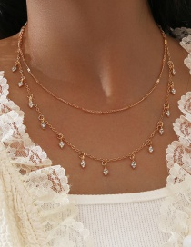 Fashion Golden Alloy Diamond Double Layer Necklace With Rhinestones And Tassels