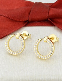 Fashion Gilded Diamond-set Round Hollow Copper Gold-plated Earrings
