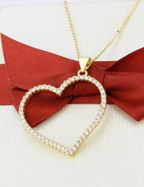 Fashion Gilded Heart-shaped Gold-plated And Zircon Necklace