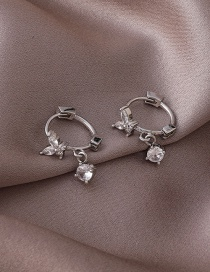 Fashion Silver Color Micro-set Zircon Butterfly Gold-plated Copper Earrings