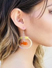 Fashion Goldfish Bowl Colorful Transparent Acrylic Gold Fish Bowl Earrings