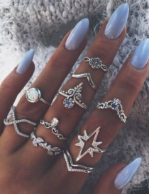 Fashion Silver Color Lightning Leaf Star Alloy Geometric Ring Set