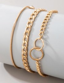 Fashion Gold Color Geometric Circle Metal Thick Chain Multi-layer Bracelet