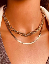 Fashion Gold Color Alloy Fishbone Chain Double Necklace