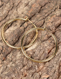 Fashion Gold Color Geometric Large Circle Gold-plated Copper Earrings