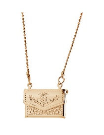 Fashion 18k Gold Pattern Small Bag Square Photo Box Can Hold Photo Necklace
