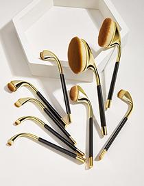 Fashion Local Gold 9pcs Plastic Handle Aluminum Tube Nylon Hair Makeup Brush Set