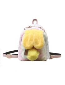 Fashion Small Yellow Bunny Ears Plush Contrast Color Backpack
