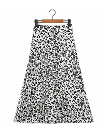 Fashion Printing Leopard Print Buttoned Pleated Skirt