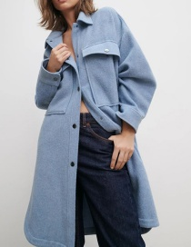 Fashion Blue Wool Split Single-breasted Shirt Jacket