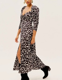 Fashion Black Bow Print Draped Puff Sleeve Long Dress