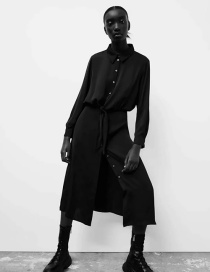 Fashion Black Single Breasted Long Sleeve Loose Dress