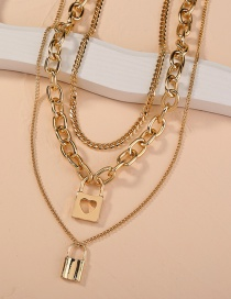Fashion Gold Color Thick Chain Lock Heart Multi-layer Necklace