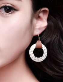 Fashion Silver Color Sandy Silver Bump Round Tag Leather Earrings