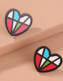 Fashion Color Mixing Stitching Resin Heart-shaped Alloy Earrings