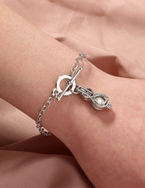 Fashion Silver Color Natural Freshwater Oyster Pearl Guitar Bracelet
