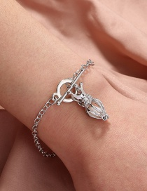 Fashion Silver Color Crown Cage Natural Freshwater Oyster Pearl Bracelet