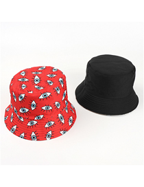 Fashion Red Eye Print Double-sided Fisherman Hat