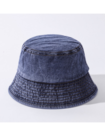 Fashion Denim Blue Pure Color Light Board Washed Cotton Shade Fisherman Hat