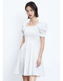 Fashion White Printed Solid Color Dress With Ruffled Square Collar