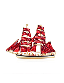 Fashion Red Alloy Sail Brooch