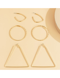 Fashion Golden Geometric Triangle Alloy Hollow Earrings Set