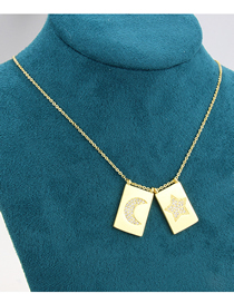 Fashion Gold-plated White Zirconium Square Tag Gold-plated Zirconium Star And Moon Pendant Necklace