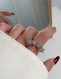 Fashion Silver Five-pointed Star Diamond Alloy Adjustable Opening Ring