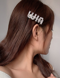 Fashion Silver Letter Alloy Geometric Diamond Hair Clip