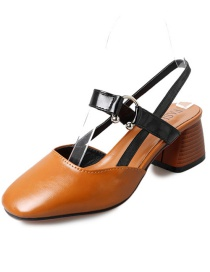 Fashion Brown Round Toe Back Chunky Heel Buckle Sandals