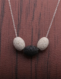 Fashion Black Volcanic Stone Beaded Geometric Thin Chain Necklace