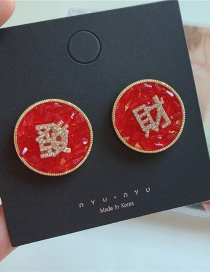 Fashion Red Fa Cai Crystal Button Diamond Alloy Earrings