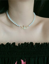 Fashion Golden Pearl Full Diamond Planet Alloy Necklace