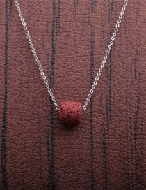 Fashion 1 Red Volcanic Stone + Copper O Sub-chain Volcanic Stone Beaded Thin Chain Necklace