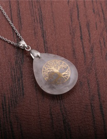 Fashion Tree Of Life Shiraishi Water Drop Blue Sand White Stone Tree Of Life Pendant Necklace