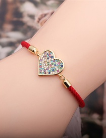 Fashion Heart Micro-inlaid Zircon Love Heart Red Cord Adjustable Bracelet