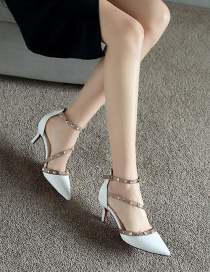 Fashion White Rivet Pointed Shallow Mouth Side Hollow Single Shoes